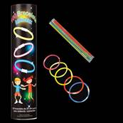 TUBO 100 BRACELETS PHOSPHORESCENTS