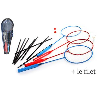 SET 4 RAQUETTES BADMINTON + FILET